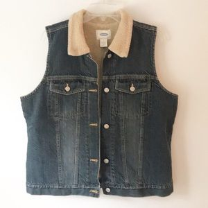 Old Navy • Denim • Sherpa • Vest • XL